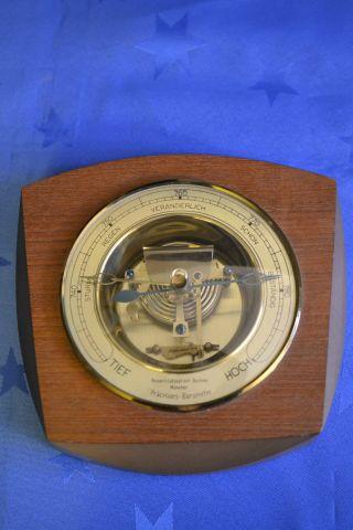 Präzisions - Barometer - Messing Mit Holz - Universitätsoptiker Buchner München Bild