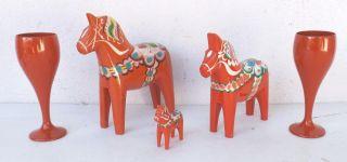 3 X Dala Pferde Org.  Nlis Olsson Schweden,  2 Holz Kelche - Vintage Bild