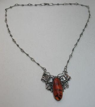 Jugendstil Silber Kette Collier Großer Bernstein Florales Design Massiv Bild