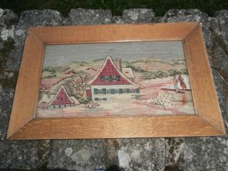Gobelin Wandgobelin Gerahmt Häuser Landschaft Handgestickt Antik Bild