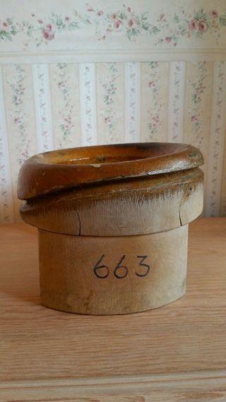 Antiken Vintage Hutform Aus Holz Hat Block Wooden Mod.  663 Hutmacher Millinery Bild