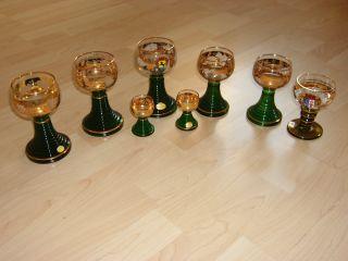 Alte Wein Gläser 8 Stück Goldverzierungen Bild