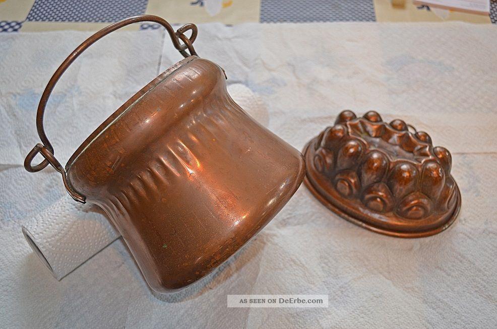 Antiker Kupfertopf Topf Henkel Und Kupferbackform Backform Kupfer Sehr Dekorativ Haushalt Bild