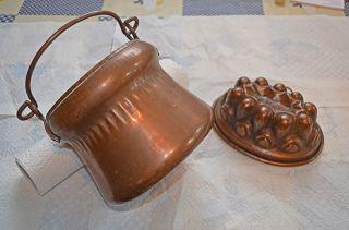 Antiker Kupfertopf Topf Henkel Und Kupferbackform Backform Kupfer Sehr Dekorativ Bild