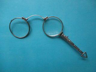 Antik Art Deco Longion Um 1920 Lorgnon Stielbrille Longuette Klappbrille Silber Bild