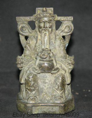 Chinese Bronze Sitz Geld Reichtum Yuanbao Gott Schatz Schüssel Männer Statue Bild