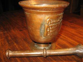 Antiker Kupfer Mörser Mit Stößel Bild