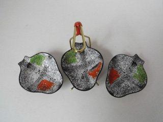 3 Keramik Anbietschalen Im Ständer,  Rockabilly 50er - 60er,  West Germany,  Jasba? Bild