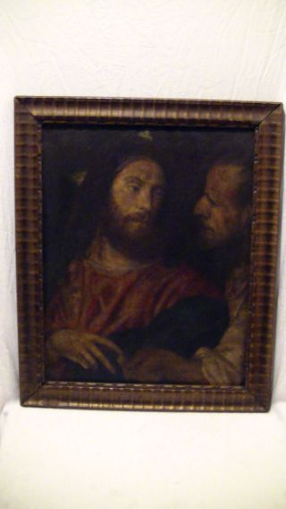 Altes Ölgemälde,  Leinwand Auf Holz Doubliert,  Männer,  Geldstück,  Antik Bild