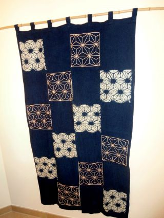 Japan Noren Sachiko Stitching Textilkunst Türvorhang Wandbehang Bild