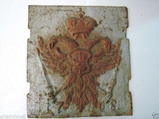 Dachbodenfund : Sehr Alte Ofenplatte Aus Eisen Mit Wappen,  Dat.  1768 Bild