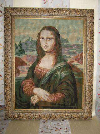 Gobelin Stickbild Bild Mit Holz Rahmen Motiv Mona Lisa Bild