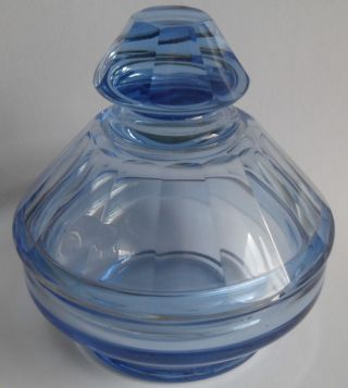 Alte Bonboniere Kristall Glas Facettenschliff Deckeldose Blau Antik Dose Bild