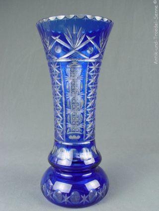 Nachtmann Riesige Alte Vase Kristallglas Überfang Blau 35 Cm Bild