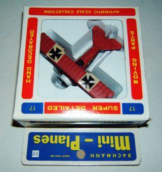 Bachmann,  Mini - Planes,  Fokker Dr - 1,  M 1:90,  Made In Hong Kong,  1970er J. ,  Mib Bild