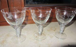 3 Alte Gläser Weißweingläser Weingläser Weisswein Glas Kristall 50er/60er Jahre? Bild