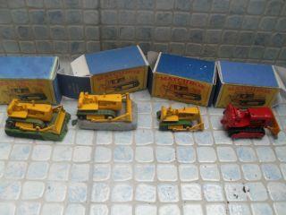 4 Lesney 18/8/16 Caterpillar Bulldozer Matchbox Modellauto Konvolut Bild