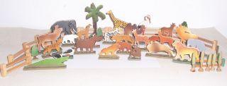 Konvolut Holz Flachfiguren Zoo Tropische Tiere Um 1950 Bild