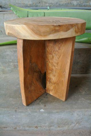 Hocker Tisch Plantagen Teak Holz Säule Bali Deko Blumentisch Blumenständer 3217 Bild