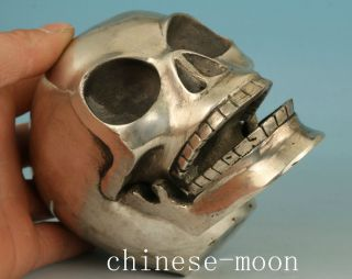 Cool Asian Chinese Old Copper Handmade Carved Skull Collect Statue Ornament Bild