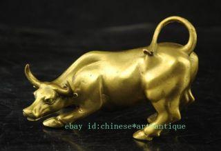 Chinese Pure Bronze Copper Feng Shui Wealth Money Ox Bull Art Statue Ld04 Bild
