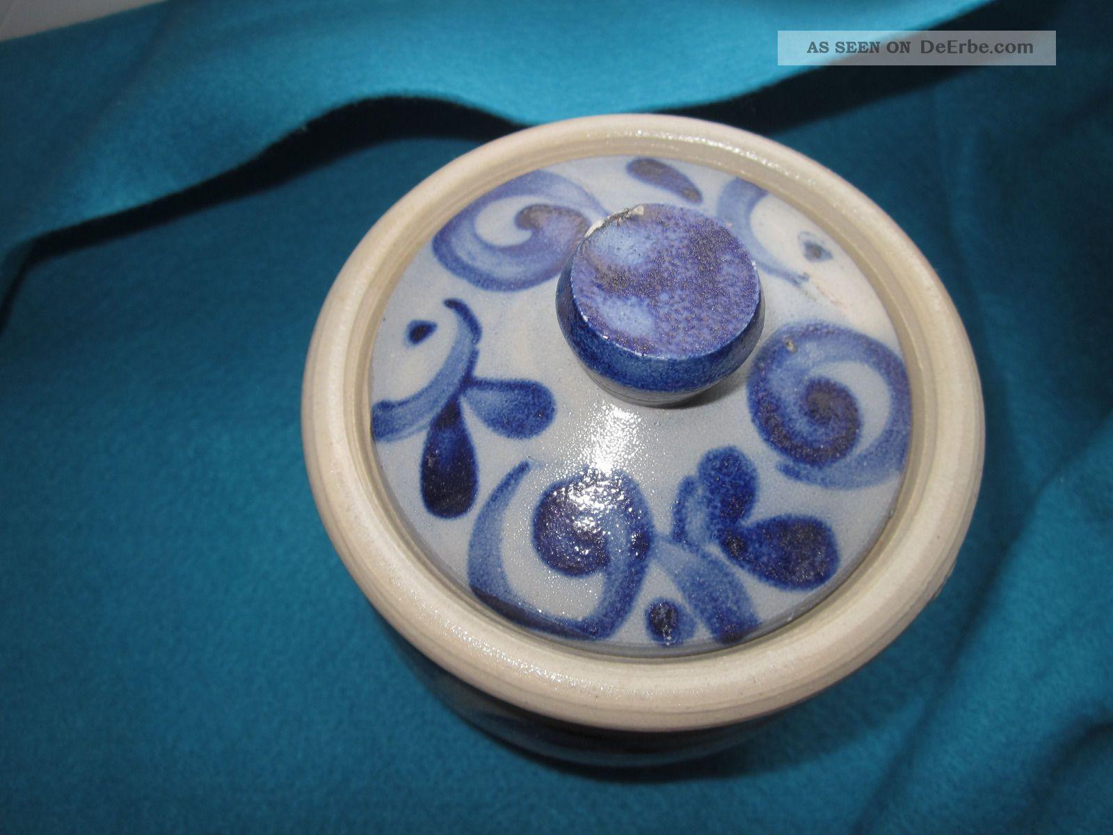 alter kleiner topf mit deckel steingut salzglasur keramik handarbeit. Black Bedroom Furniture Sets. Home Design Ideas