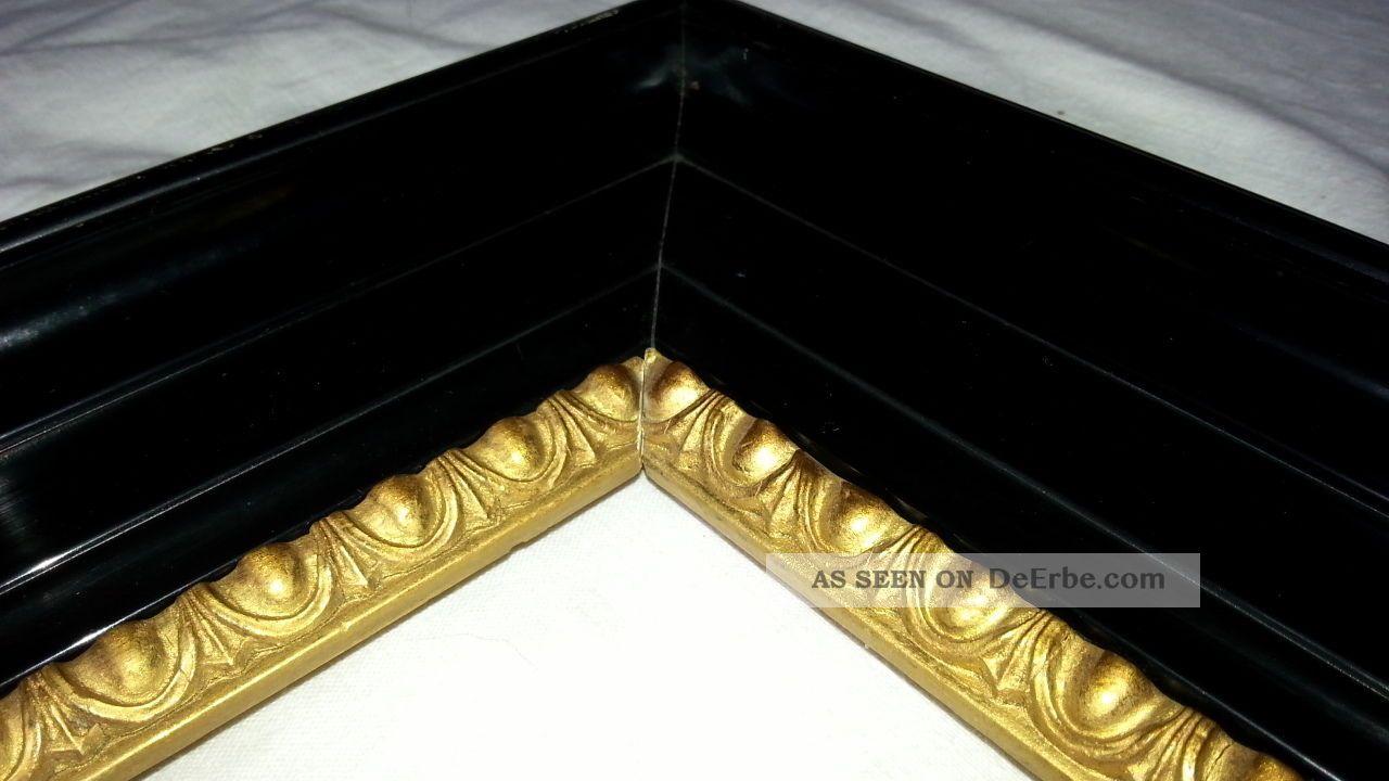 Großer Breiter Tiefer Schelllackrahmen Um 1900 Ochsenaugen Goldinnenrand  Toptop