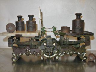 Antike 3 Kg Balkenwaage,  Zungenwaage,  Küchenwaage,  Marktwaage,  7 Gewichten Bild