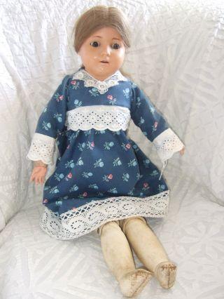 Uralte Schildkröt Puppe 1926 Antik Sammlerpuppe Leder Echthaar Aus Nachlass Bild