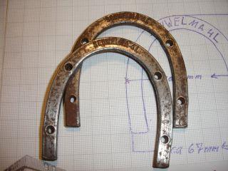 2 Stück Absatzeisen,  Schwelma 4 L Sohleneisen,  Stiefeleisen,  2.  Wk Militärstiefel Bild