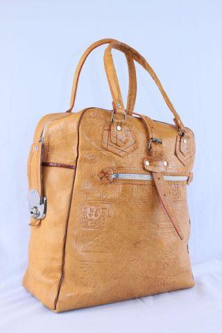 Vintage Leder Tasche Reisetasche Weekender Braun Hingucker Leather Bag Bild