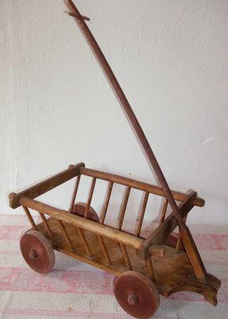 Antiker Spielzeug Handwagen - Holzhandwagen - Leiterwagen - Pferdewagen - Holz Bild