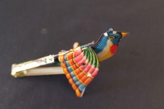 Altes Blechspielzeug Mechanischer Fantasie Vogel Mit Stimme Blasebalg Bild