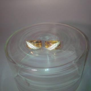 Altes Paar Ohrclips Gold Rosé - Gold Gelbgold - Auflage Gepunt 925 Silber Schmuck Bild