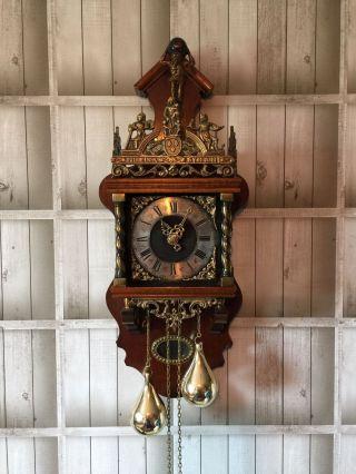 Schöne Alte Wanduhr Zaanse Clock Wuba Mit Innenliegendem Pendel 64 Cm Bild