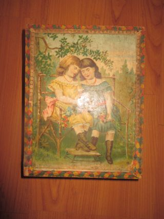 Biedermeier Holzbaukasten Puzzl 5 Bilder Um 1860 Kasten 19 Cm X 15 Cm Bild