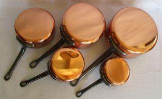 5 Kupfer - Verzinnt Kochtöpfe Kasserolle Kochen Küche Kochgeschirr Frankreich Bild