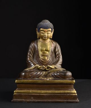 Buddha Amitabha.  Alte,  Vergoldete Statue.  Old,  Gilt Figure.  (japan,  Japanese) Bild