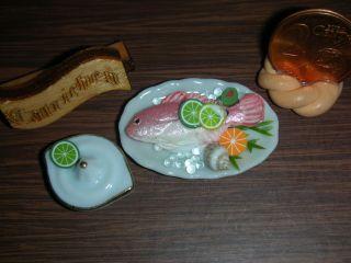 1:24 Fischteller Mit Zitruspresse/puppenküche/gartenbahn/diorama 1:24 Catrichen Bild