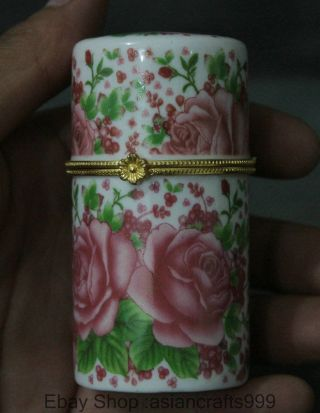 8cm Chinese Colour Porcelain Cylindrical Pink Flower Coccoloba Toothpick Box Bild