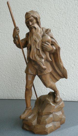 Schöne Handgeschnitzte Holz Figur Rübezahl 43 Cm Skulptur Holzfigur Volkskunst Bild