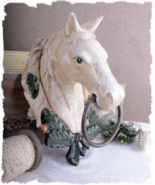 Shabby Chic Handtuchhalter Pferdekopf Wandskulptur Landhausstil Pferd Gusseisen Bild