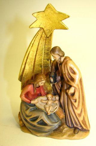 Krippenfigur,  Heilige Familie,  Sculptures Nogler,  Holzschnitzerei Aus Grödnertal Bild