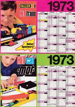 Faller 2 Kalender 1973 Unbenutzt,  Werbung Für Hit Car Mot Und Hit Train 10 X 15 Bild