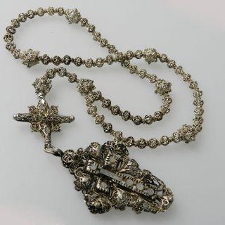 Antiker Rosenkranz - Gebetskette Aus Silber Um Ca.  1880 - S5013 Bild