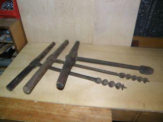 Drei Historische Handbohrer,  Zimmermann Werkzeug Bohrer Für Holz Antik 19 Jhdt. Bild