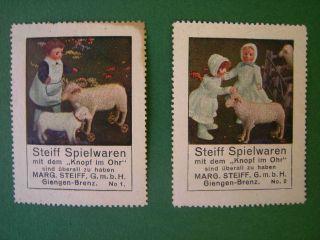 Steiff Werbemarken No.  1,  2,  20er Jahre,  Steiff Schafe Und Puppen Bild