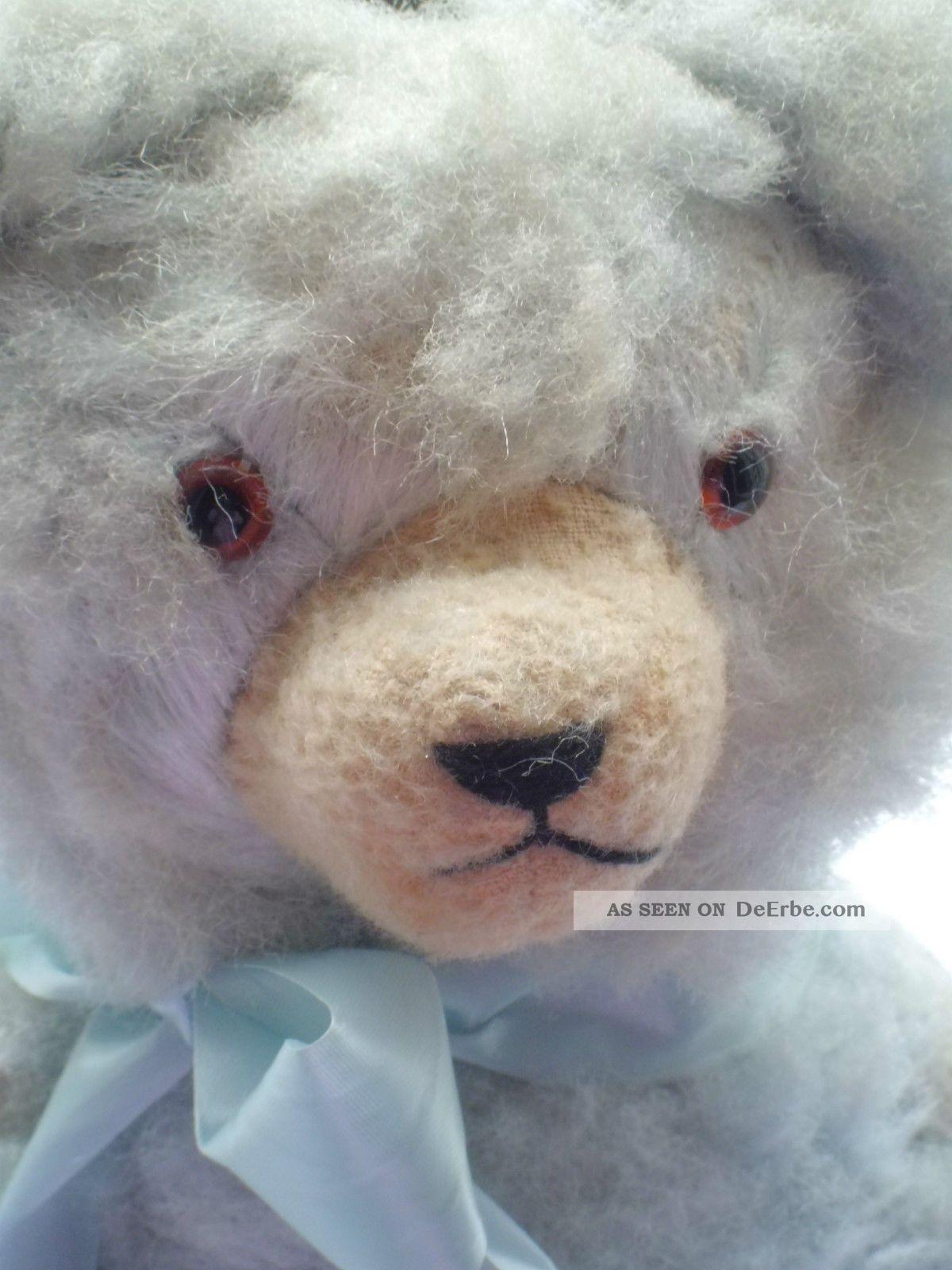 Alter Teddybär Bär Teddy Mit Glasaugen Seidenplüsch Ca.  42 Cm Groß Hellblau Stofftiere & Teddybären Bild