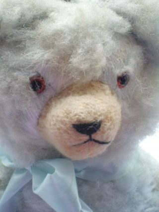 Alter Teddybär Bär Teddy Mit Glasaugen Seidenplüsch Ca.  42 Cm Groß Hellblau Bild