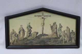 Wunderschöner Alter Druck Christliches Motiv Im Holzrahmen Hinter Glas 33x18,  3cm Bild